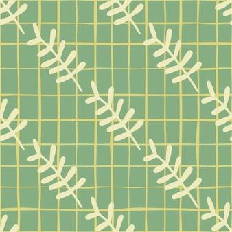 Botanische bloementakken naadloze patroon. gele elementen op pastel achtergrond met groene streep.
