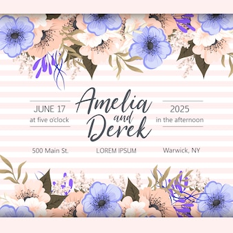 Botanische bruiloft uitnodiging kaartsjabloon ontwerp