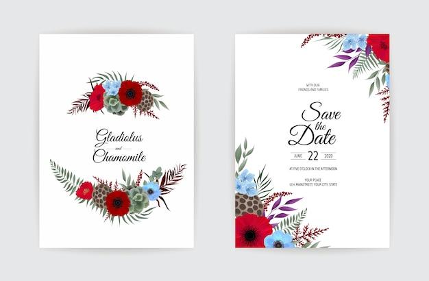 Botanische bruiloft uitnodiging kaartsjabloon ontwerp.