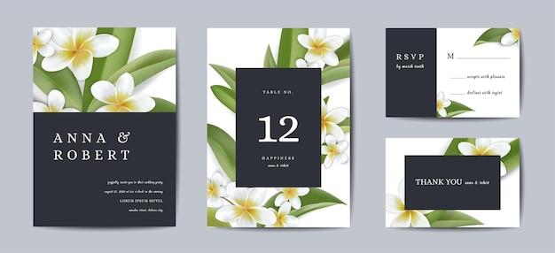 Botanische bruiloft uitnodigingskaart sjabloonontwerp, tropische plumeria bloemen en bladeren in moderne stijl, collectie van save the date, rsvp, groet in vector