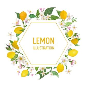 Botanische bruiloft uitnodigingskaart, vintage save the date, sjabloon frame ontwerp van citroenen fruit bloemen en bladeren, bloesem illustratie. vector trendy omslag, grafische poster, brochure