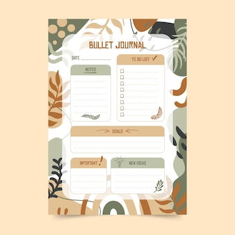 Botanische bullet journal planner-sjabloon