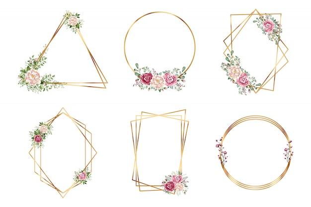 Botanische gouden geometrische veelvlak bruiloft uitnodiging decostijl ontwerp