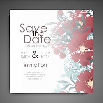 Botanische groet uitnodiging kaartsjabloon ontwerp