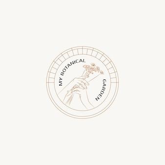 Botanische handgetekende lijn kunst vector logo ontwerpsjabloon
