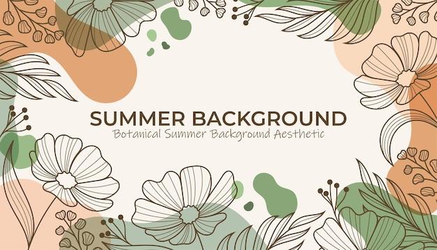 Botanische handgetekende zomer