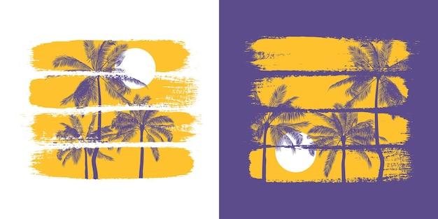 Botanische illustratie van silhouetten van palmbomen en zon met kleurrijke penseelstreken.