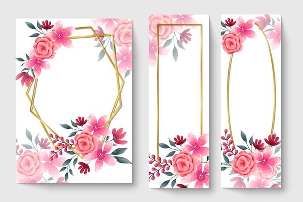 Botanische kaart met roze bloemen