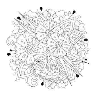 Botanische kleurplaat met fantasiebloemen in lijntekeningen