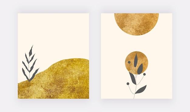 Botanische kunst aan de muur met gouden textuur en zwarte bladeren