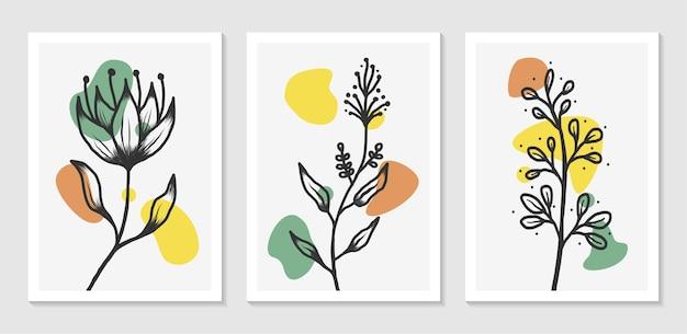 Botanische kunst aan de muur ontwerpset met abstracte vorm minimalistisch