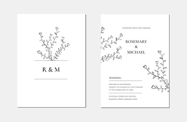 Botanische lijn kunst minimalistische bloemen bruiloft uitnodiging kaartsjabloon. hand getekende zwarte bladeren schets. vector illustratie bruiloft lay-outontwerp