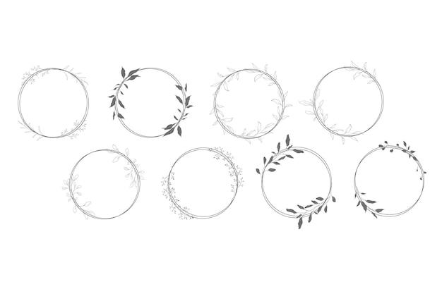 Botanische lijnkunst krans set