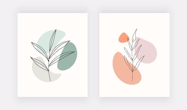 Botanische line art prints met vormen en zwarte bladeren.