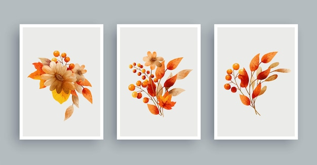 Botanische muur kunst aquarel achtergrond. gebladerte kunst bladeren en bloem.