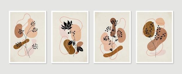 Botanische muurkunst vector set verzameling van hedendaagse kunstposters minimale en natuurlijke muurkunst