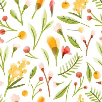 Botanische naadloze patroon met doorschijnende bloeiende zomerbloemen, bessen, bladeren verspreid op witte achtergrond