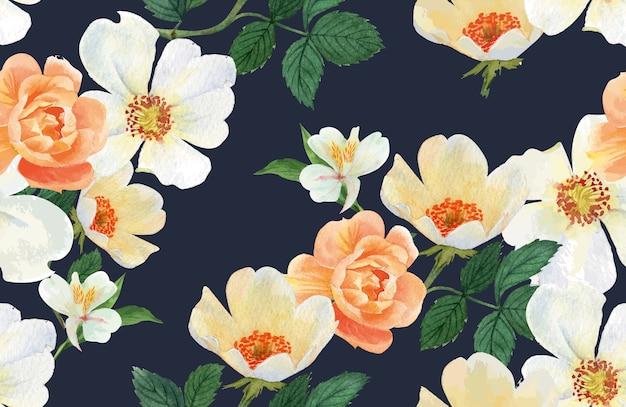Botanische patroon bloem aquarel, bedankt kaart, textieldruk illustratie