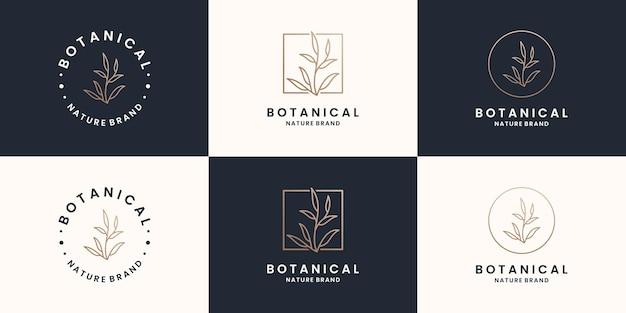 Botanische, planten-, natuurlogo-ontwerpcollecties