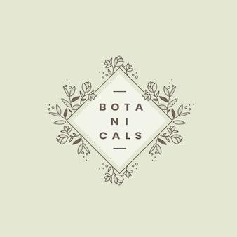 Botanische stijl badge ontwerp vector