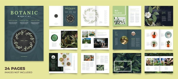 Botanische tijdschriftlay-out met groene accenten