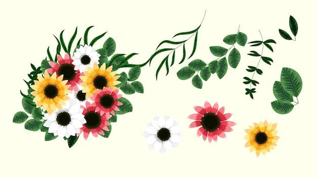 Botanische verzameling wilde bloemenarrangementen met tuinbloemen, kruiden, bladeren, takken, allemaal geïsoleerd als ontwerpelementen voor banners, ansichtkaarten, advertenties, posts op sociale media, textiel,
