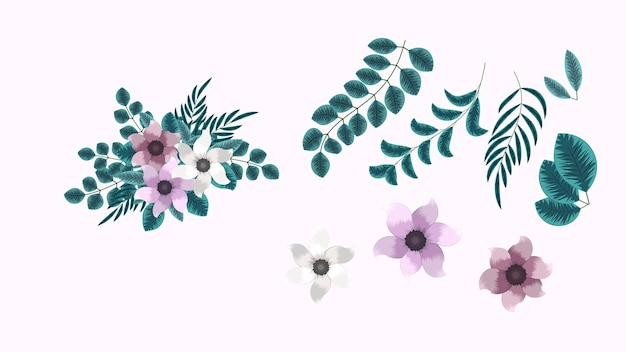 Botanische verzameling wilde bloemstukken sets met tuin bloemen kruiden bladeren takken