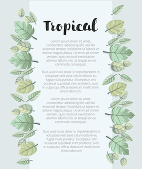Botanische zomer tropische verkoop flyer met palmbladeren en exotische planten