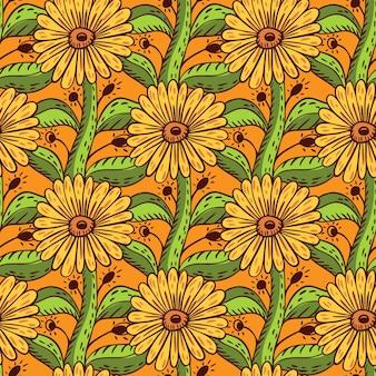 Botanische zonnebloem elementen naadloze patroon in de hand getekende plantkunde stijl. oranje achtergrond. groene bladeren. grafisch ontwerp voor inpakpapier en stoffentexturen. vectorillustratie.