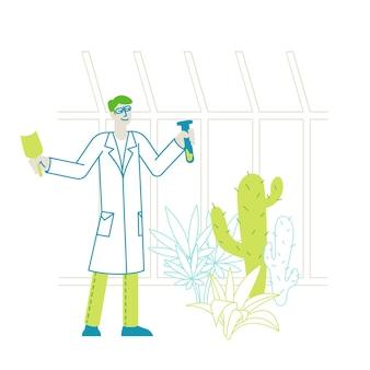 Botanist wetenschapper karakter in kas met schop en reageerbuis leren exotisch