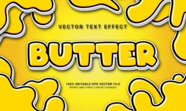 Boter bewerkbaar teksteffect met geel kleurenthema