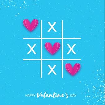 Boter-kaas-en-eieren-spel met kriskras en roze papier gesneden harten teken mark xoxo