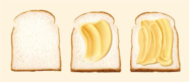 Boter op toast in 3d illustratie