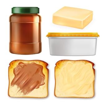 Boter verspreid op toast en pakket set vector. collectie van pinda en chocolade boter op geroosterd brood stuk, lege container en fles. voedselsjabloon realistische 3d-illustraties