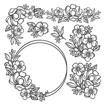 Botercup set floral zwart-wit collectie met bloem ring van boterbloem en rose kransen en boeketten voor afdrukken cartoon cliparts vector illustratie set