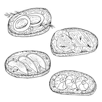 Boterhammen. hand getekende illustratie. monochroom zwart-witte inktschets. lijn kunst. geïsoleerd