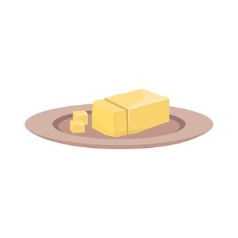 Boterpictogram op een bord. een stuk margarine met gesneden stukjes. bron van vitamine a