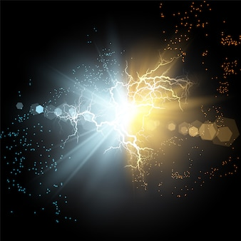 Botsing van twee krachten van blauw en goud magisch plasma.
