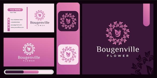 Bougainvillea bloem logo vector ontwerpsjabloon, mooie bloem pictogram, natuur logo ontwerpsjabloon met luxe blad concept abstracte luxe bloemen symbool voor natuur, yoga en beauty stijl bedrijf