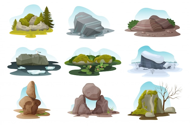 Boulder en rock steen geïsoleerde illustratie set, cartoon stapel keien in alle natuur seizoenen