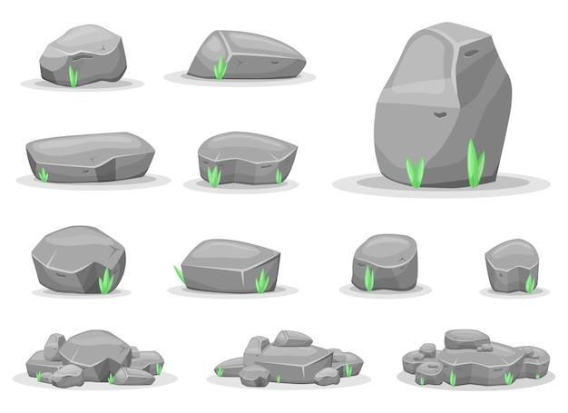 Boulderstenen ontwerpen geïsoleerde illustratie spelactiva