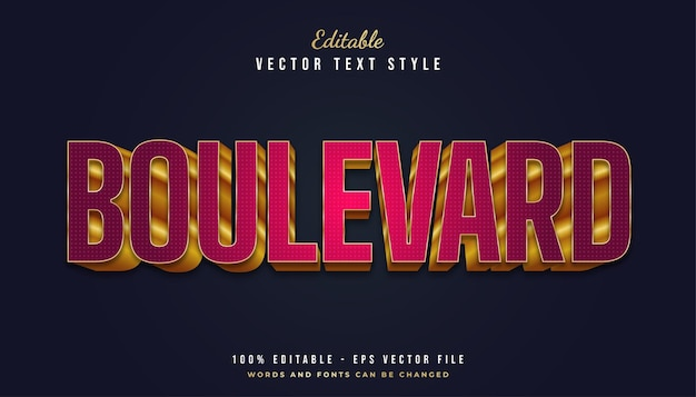 Boulevard-teksteffect in rode en gouden stijl
