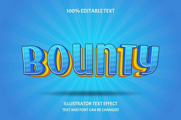 Bounty, 3d bewerkbaar teksteffect oranje geel blauw moderne schaduw komische lagen stijl