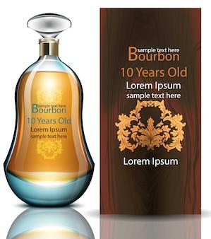 Bourbon realistische fles, verpakking van het product mock-up
