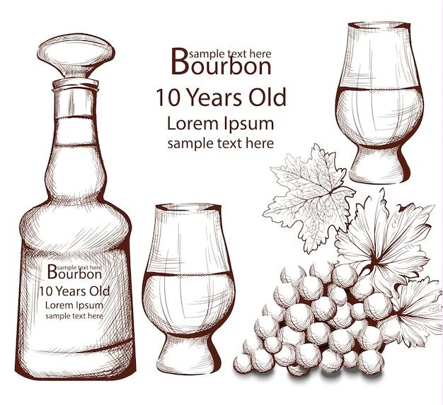 Bourbon vintage fles in lijntekeningen vectorillustraties