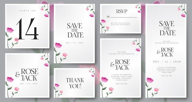 Bourgondië blozen floral bruiloft kaartenset sjabloon