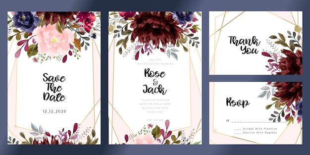 Bourgondië en blozen aquarel bloemen bruiloft uitnodigingskaart