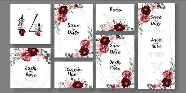 Bourgondië en blozen floral botanische bruiloft uitnodigingskaart