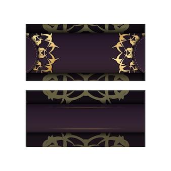 Bourgondische flyer met abstract gouden ornament voor uw merk.