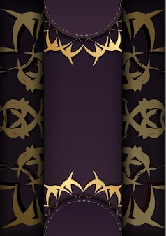 Bourgondische flyer met abstracte gouden sieraad voor uw felicitaties.